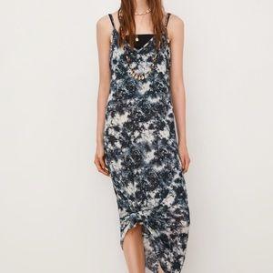 NWT Zara ti dye blue slip dress